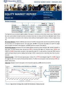EQUITY MARKET REPORT MONTHLY MARKET WRAP FEBRUARY, Market Summary. 2nd March, 2016 FEBRUARY, 2016