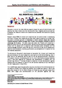 Equity, Social Cohesion and Children with Disabilities