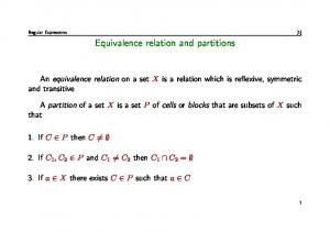 Equivalence relation and partitions