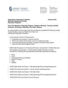 Equivalency Assessment Updated January 2016 Manitoba Registered Nursing Education Programs