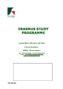 ERASMUS STUDY PROGRAMME