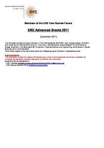 ERC Advanced Grants 2011