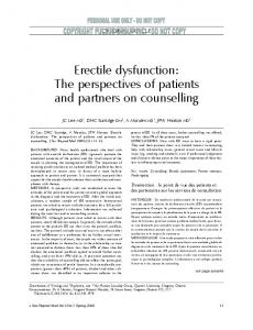 Erectile dysfunction: The perspectives of patients and partners on counselling