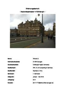 Erfahrungsbericht. - Auslandssemester in Edinburgh