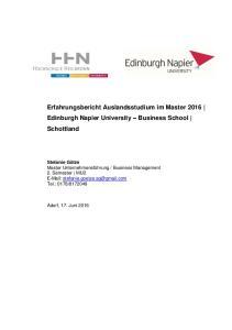 Erfahrungsbericht Auslandsstudium im Master 2016 Edinburgh Napier University Business School Schottland