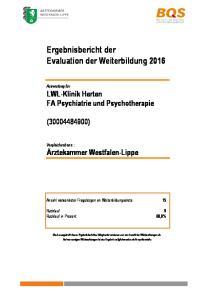 Ergebnisbericht der Evaluation der Weiterbildung 2016