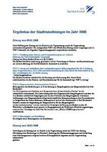 Ergebnisse der Stadtratssitzungen im Jahr 2008