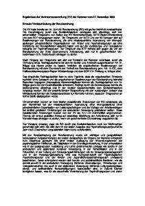 Ergebnisse der Vertreterversammlung (VV) der Kammer vom 27. November 2004