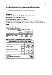 Ergebnisse KISS Papier- und Online-Daten