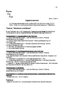 Ergebnisvermerk. Themenbereich 3: Sonstiges - H. Balzer (Bezirksbürgermeister - Leiter der Abteilung Finanzen, Personal, Stadtentwicklung und Umwelt)