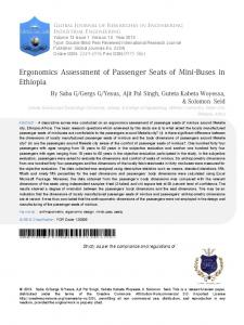 Ergonomics Assessment of Passenger Seats of Mini-Buses in Ethiopia