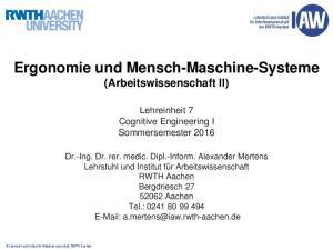 Ergonomie und Mensch-Maschine-Systeme (Arbeitswissenschaft II)