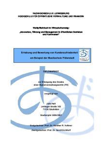 Erhebung und Bewertung von Kundenzufriedenheit. am Beispiel der Musikschule Filderstadt