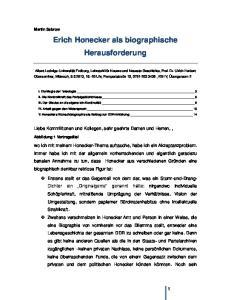 Erich Honecker als biographische Herausforderung