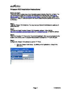 Ericsson ECC Installation Instructions: