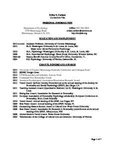 Erika N. Carlson Curriculum Vita PERSONAL INFORMATION EDUCATION AND EMPLOYMENT