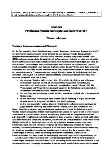 Erinnern Psychoanalytische Konzepte und Kontroversen