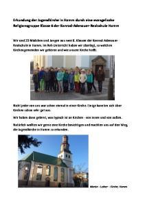 Erkundung der Jugendkirche in Hamm durch eine evangelische Religionsgruppe Klasse 6 der Konrad-Adenauer-Realschule Hamm