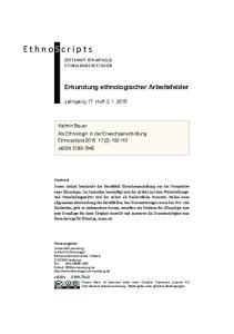 Erkundung ethnologischer Arbeitsfelder. Kathrin Bauer Als Ethnologin in der Erwachsenenbildung Ethnoscripts (2): eissn