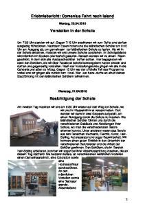 Erlebnisbericht: Comenius Fahrt nach Island. Vorstellen in der Schule