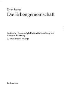 Ernst Sarres Die Erbengemeinschaft