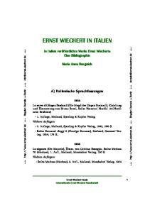 ERNST WIECHERT IN ITALIEN