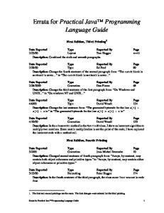 Errata for Practical Java Programming Language Guide