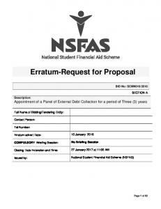 Erratum-Request for Proposal