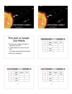 Error correction codes I. Error correction codes I. First, back to Lempel- Ziv(-Welch)