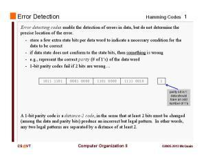 Error Detection. Hamming Codes 1