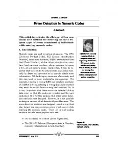 Error Detection in Numeric Codes