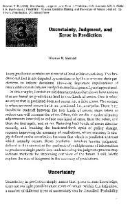 Error in Prediction. Thomas R. Stewart