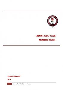 ERSKINE GOLF CLUB MEMBERS GUIDE
