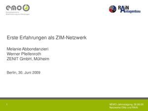Erste Erfahrungen als ZIM-Netzwerk