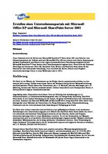 Erstellen eines Unternehmensportals mit Microsoft Office XP und Microsoft SharePoint Server 2001