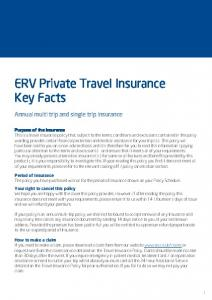 ERV Private Travel Insurance Key Facts