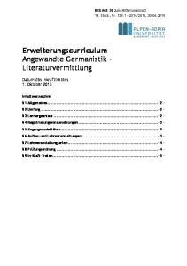 Erweiterungscurriculum Angewandte Germanistik - Literaturvermittlung