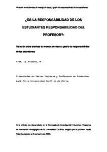 ES LA RESPONSABILIDAD DE LOS ESTUDIANTES RESPONSABILIDAD DEL PROFESOR?:
