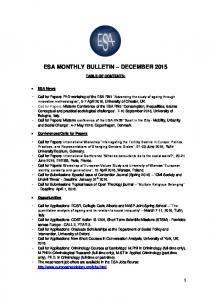 ESA MONTHLY BULLETIN DECEMBER 2015