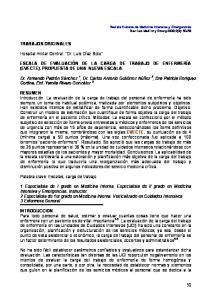 ESCALA DE EVALUACIÓN DE LA CARGA DE TRABAJO DE ENFERMERÍA (EVECTE). PROPUESTA DE UNA NUEVA ESCALA
