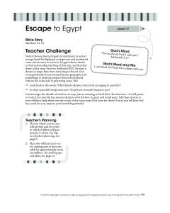 Escape to Egypt. Teacher Challenge. Bible Story Matthew 2:1-15. God s Word. God s Word and Me