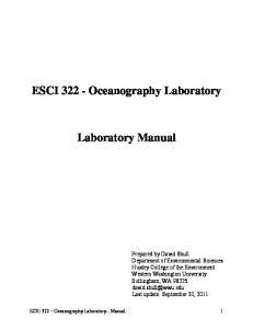 ESCI Oceanography Laboratory. Laboratory Manual