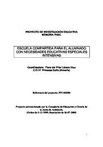 ESCUELA COMPARTIDA PARA EL ALUMNADO CON NECESIDADES EDUCATIVAS ESPECIALES INTENSIVAS