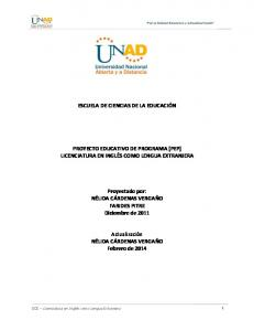 ESCUELA DE CIENCIAS DE LA EDUCACIÓN PROYECTO EDUCATIVO DE PROGRAMA (PEP) LICENCIATURA EN INGLÉS COMO LENGUA EXTRANJERA