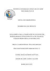 ESCUELA DE JURISPRUDENCIA INFORME FINAL DEL PROYECTO