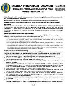 ESCUELA PRIMARIA JB PASSMORE REGLAS DEL PROGRAMA DEL CAMPUS PARA PADRES Y ESTUDIANTES