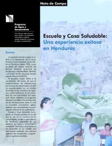 Escuela y Casa Saludable: Una experiencia exitosa en Honduras