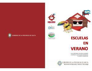 ESCUELAS EN VERANO PLAN PROVINCIAL ESCUELAS ABIERTAS CENTROS DE ACTIVIDADES INFANTILES PLAYONES EDUCATIVOS