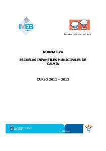 Escuelas Infantiles de Calvià NORMATIVA ESCUELAS INFANTILES MUNICIPALES DE CALVIÀ