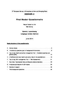 ESENER-2. Final Master Questionnaire